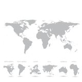 Grey World Map-Vektor Illustration Stockfotografie