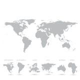 Grey World Map vektorillustration Arkivbild