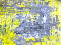 Grey and Yellow Abstract Art Painting Stock Photos