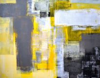 Grey and Yellow Abstract Art Painting stock images