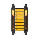 Grey And Yellow Catamaran With dos vende puerta a puerta, pieza del barco y serie de los deportes acuáticos de ejemplos planos si Imagenes de archivo
