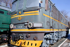Grey yellow locomotive. Famous soviet locomotive for passenger trains Stock Images