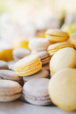 Grey and yellow macaroons Royalty Free Stock Images