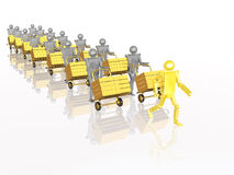 Grey an yellow robots with casegoods Stock Images