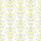 Grey on yellow stripes elegant border in damask Stock Photos