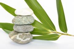 Grey zen stones with bamboo en crocus on empty white background Stock Photo