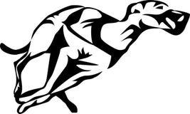 Greyhound dog racing. Greyhound dog galloping - stylized black illustration Stock Image
