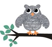 A greymelange owl. Sitting on a branch Stock Photography