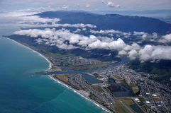 Greymouth. Aerial of Greymouth and the mouth of the Grey River, West Coast, South Island, New Zealand Royalty Free Stock Image