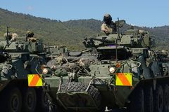 LAV ready to go at an open day. GREYMOUTH, NEW ZEALAND, NOVEMBER 18, 2017: The crew of a Light Armoured Vehicle LAV prepares to depart from at an open day for Stock Images