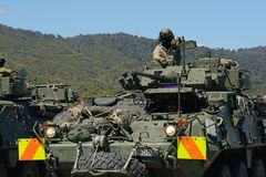 LAV ready to go. GREYMOUTH, NEW ZEALAND, NOVEMBER 18, 2017: The crew of a Light Armoured Vehicle LAV prepares to depart from an open day for the military Stock Photos