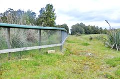Predator trap at the Bois Gentil Kiwi Crèche, New Zeland. Greymouth, South Island, New Zealand, November 22, 2016: Predator trap beside a fence at the Bois stock photo