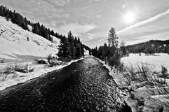 Greys River in Wyoming. Along the snowmobiling trail in Greys River, Wyoming, a tributary of the Snake River Stock Photos