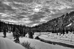 Greys River in Wyoming. Along the snowmobiling trail in Greys River, Wyoming, a tributary of the Snake River Royalty Free Stock Photo