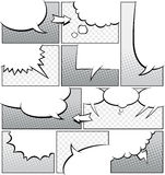 Greyscale шаблон страницы комика Стоковые Фотографии RF