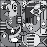 Greyscale Abstract Art Picture Stock Images