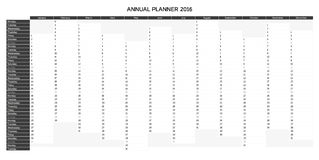 Greyscale English annual planner 2016. Greyscale annual planner for 2016 - English, starts with Monday Royalty Free Stock Image