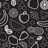 Greyscale fruits seamless vector pattern Stock Photos