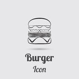 Greyscale Icon of Burger Stock Image