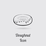 Greyscale Icon of Donut Royalty Free Stock Photo