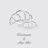 Greyscale Icons of Croissants Royalty Free Stock Photo