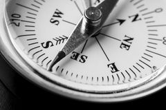 Greyscale image of a magnetic compass Stock Photography