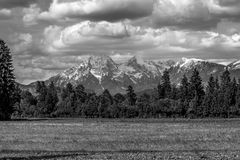 Greyscale image of Slovenian mountains Royalty Free Stock Photo