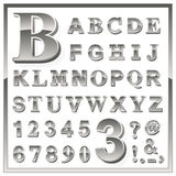 Greyscale metallic numerals and alphabet letters Royalty Free Stock Photos