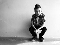Greyscale Photo Of Boy Royalty Free Stock Images