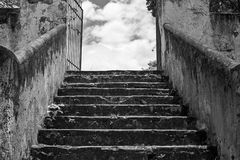 Greyscale Photo of Concrete Staircase Stock Image