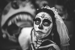 Greyscale Photo of Day of the Dead Corpse Bride Stock Image