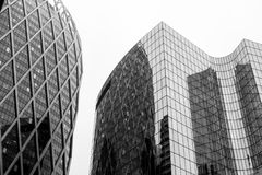 Greyscale Photo Of Glass Window Buildings Royalty Free Stock Photography