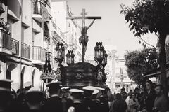 Greyscale Photo Of Group Of People Carrying Crucifix Royalty Free Stock Image