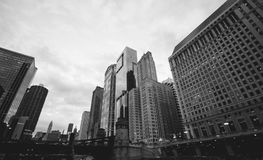 Greyscale Photo of High Rise Buildings Royalty Free Stock Image