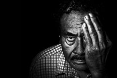Greyscale Photo of Man in Collared Shirt Covering Left Eye Stock Photos