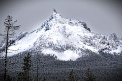 Greyscale Photo Of Mountain Covered With Snow Stock Image