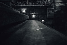 Greyscale Photo of Stair Surrounded Light Royalty Free Stock Images