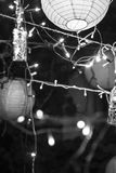 Greyscale Photo of String Lights Royalty Free Stock Photography