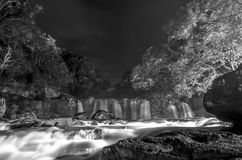 Greyscale Photo of Waterfall during Nighttime Royalty Free Stock Photos