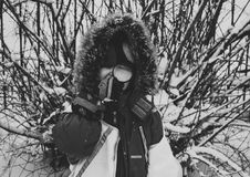Greyscale Photo of Woman With Snowsuit Royalty Free Stock Image