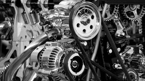 Greyscale Photography of Car Engine Royalty Free Stock Images