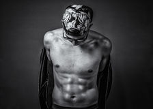 Greyscale Photography of Man Wearing Cap While Topless Royalty Free Stock Image