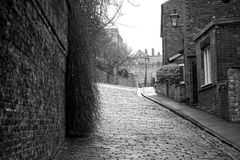 Greyscale Photography of Roadway Between Brick Wall and Houses Stock Photography