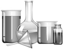Greyscale science glasses with liquid substances. Illustration Stock Photography