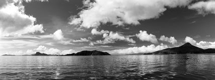 Greyscale Sea And Mountains And Sky Panorama Royalty Free Stock Images