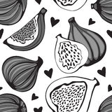 Greyscale seamless pattern with figs Royalty Free Stock Photography