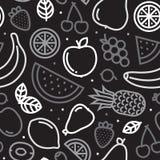 Greyscale vruchten naadloos vectorpatroon stock illustratie