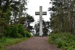 Greywacke kołysa wschód słońca wielkanocy krzyż na Mt Davidson San Fransisco, 5 obraz royalty free