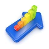 Gráfico colorido en una flecha azul. Imagen de archivo