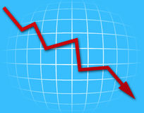 Gráfico da seta que vai para baixo Foto de Stock Royalty Free